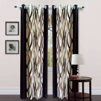 Homefab India Polyester Door Curtain (Single Curtain, 83 Inch/212 Cm In Height, Brown)