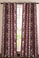 Deco Window Polyester Maroon Solid Eyelet Door Curtain 152.4 Inch In Height, Single Curtain