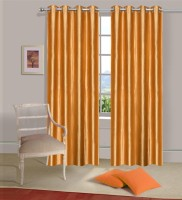 Home Elite Polyester Orange Plain Eyelet Door Curtain 214 Cm In Height, Pack Of 2