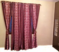Shc Polyester Maroon Window & Door Curtain 84 Inch In Height, Pack Of 4