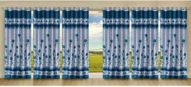 Stella Creations Polyester Light Blue Printed Eyelet Door Curtain
