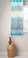 Fabutex Polyester Blue And Gold Floral Eyelet Window Curtain 152 Cm In Height, Single Curtain