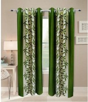 Excel Bazaar Polyester Green Floral Eyelet Door Curtain 212 Cm In Height, Pack Of 2