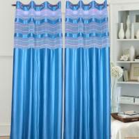 Paisa Worth Polyester Sky Blue Door Curtain 213 Cm In Height, Single Curtain