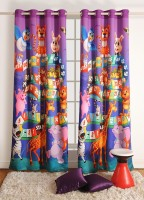 Swayam Cotton Multicolor Printed Ring Rod Door Curtain 90 Cm In Height, Single Curtain