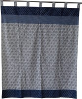 Adt Saral Cotton Blue Printed Door Curtain 229 Cm In Height, Single Curtain