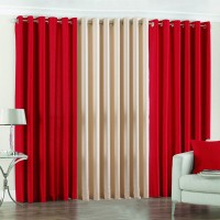 Pindia 10ft Faux Silk Plain Door Curtain (Pack Of 3) - CRNE37DN3ZZ66ADG