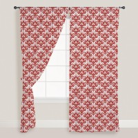 Smart Home Textile Cotton Red Door Curtain 210 Cm In Height, Single Curtain