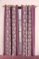 Metro Living Polyester Purple Printed Eyelet Window Curtain 154 Cm In Height, Pack Of 2