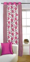 Fabutex Blends Pink Floral Eyelet Door Curtain 210 Cm In Height, Single Curtain