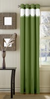 Trendy Home Polyester Green Plain Eyelet Door Curtain 203.2 Cm In Height, Single Curtain