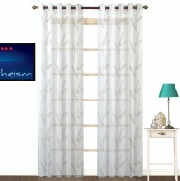 Fabutex Polycotton Green Floral Eyelet Door Curtain 210 Cm In Height, Single Curtain