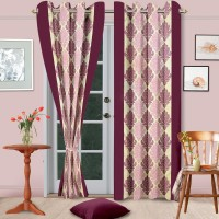 Home Fashion Gallery Polyester Purple Abstract Eyelet Window Curtain 152.4 Cm In Height, Pack Of 2
