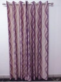 K Gallery Polyester Lavender, Beige Printed Eyelet Door Curtain