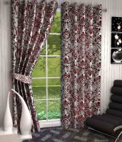 K Decor Polyester Brown Printed Eyelet Door Curtain 213 Cm In Height, Single Curtain