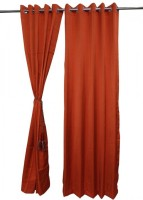 ANIQ Polycotton Orange Plain Curtain Door Curtain 210 Cm In Height, Pack Of 2