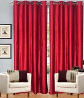 Home Fashion Gallery Polyester Maroon Plain Eyelet Window Curtain 152.4 Cm In Height, Pack Of 6