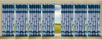 Stella Creations Polyester Light Blue Printed Eyelet Long Door Curtain 274 Cm In Height, Pack Of 7