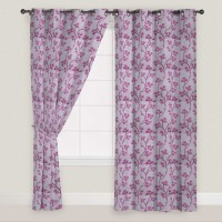 Presto Polyester Pink, Grey Window Curtain 150 Cm In Height, Single Curtain