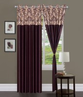 Home Sazz Polyester Multi-Color Self Design Eyelet Long Door Curtain 274.32 Cm In Height, Pack Of 2