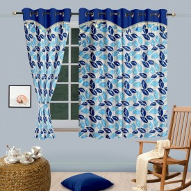 Cortina Polyester Blue Floral Eyelet Window Curtain