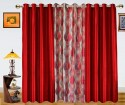 Dekor World Illusion Waves With Solid Door Curtain - Pack Of 3