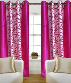 Optimistic Home Furnishing Polyester Pink Floral Eyelet Door Curtain