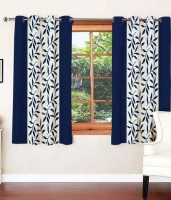 Home Fashion Gallery Polyester Blue Floral Eyelet Window Curtain 152.4 Cm In Height, Pack Of 4