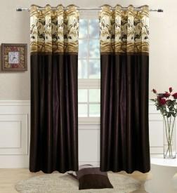 Homefab India Polyester Brown Abstract Eyelet Long Door Curtain