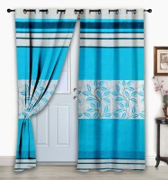 Story @ Home Jacquard Light Blue Floral Eyelet Door Curtain 215 Cm In Height, Single Curtain