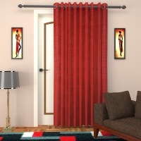 SEVEN STARS Cotton Red Checkered Curtain Door Curtain 210 Cm In Height, Single Curtain