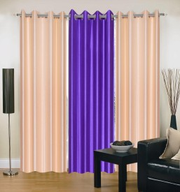 Swastik Traders Polyester Multicolor Plain Curtain Door Curtain