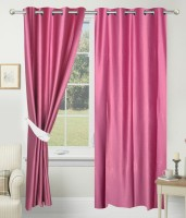 Home Fashion Gallery Polyester Pink Plain Eyelet Window Curtain 152.4 Cm In Height, Pack Of 4