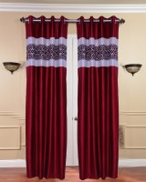 Fresh From Loom Polyester Red Abstract Curtain Door Curtain 214 Cm In Height, Pack Of 2