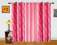 Dekor World 100% Polyester Window Curtain (Pack Of 3, 59 Inch/150 Cm In Height, Peach, Pink)