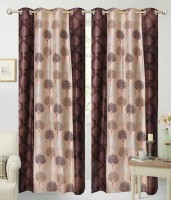 Home Fashion Gallery Polyester Brown Printed Eyelet Window & Door Curtain 213 Cm In Height, Pack Of 8