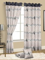 Cortina Cotton Multicolour Floral Eyelet Door Curtain 210 Cm In Height, Single Curtain