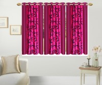 Excel Bazaar Polyester Pink Floral Eyelet Window Curtain 152 Cm In Height, Pack Of 3