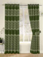 Vivace Homes Polyester Green Floral Eyelet Door Curtain 213 Cm In Height, Single Curtain