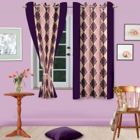 Home Fashion Gallery Polyester Purple Abstract Eyelet Window Curtain 152.4 Cm In Height, Pack Of 6