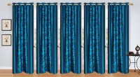 Stella Creations Polyester Light Blue Printed Eyelet Door Curtain 214 Cm In Height, Pack Of 5