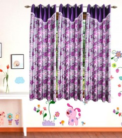 DECO INDIA Polyester Multi - Colour Floral, Abstract Eyelet Window Curtain