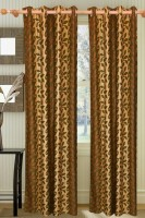Saaj Polycotton Green, Brown Door Curtain 84 Inch In Height, Single Curtain