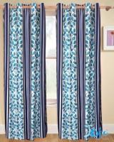 Jojo Designs Polyester Brown Floral Eyelet Door Curtain 215 Cm In Height, Pack Of 2