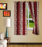 Story @ Home Polyester Maroon Window Curtain 152 Cm In Height, Pack Of 2