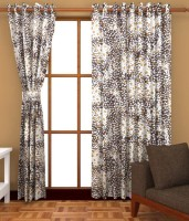 Home Fashion Gallery Polyester Brown Checkered Eyelet Window Curtain 152.4 Cm In Height, Pack Of 8