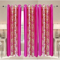 Galaxy Decorations Polyester Pink Floral Eyelet Door Curtain 84 Cm In Height, Single Curtain