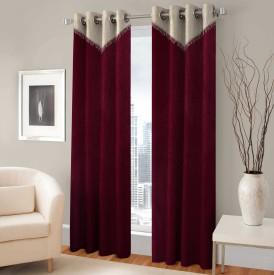 BSB Trendz Polyester Maroon Printed Eyelet Door Curtain