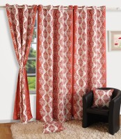 Swayam Satin, Silk Pink, Grey Printed Ring Rod Door Curtain 90 Inch In Height, Single Curtain