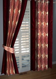 BNA Decor Polyester Red Abstract Eyelet Door Curtain